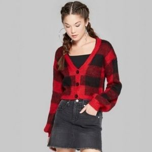 Wild Fable Red Checkered Buffalo Plaid Cardigan